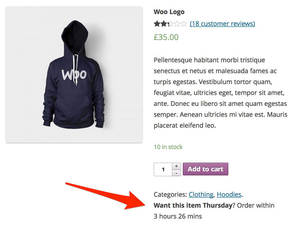 WooCommerce Advanced Message example