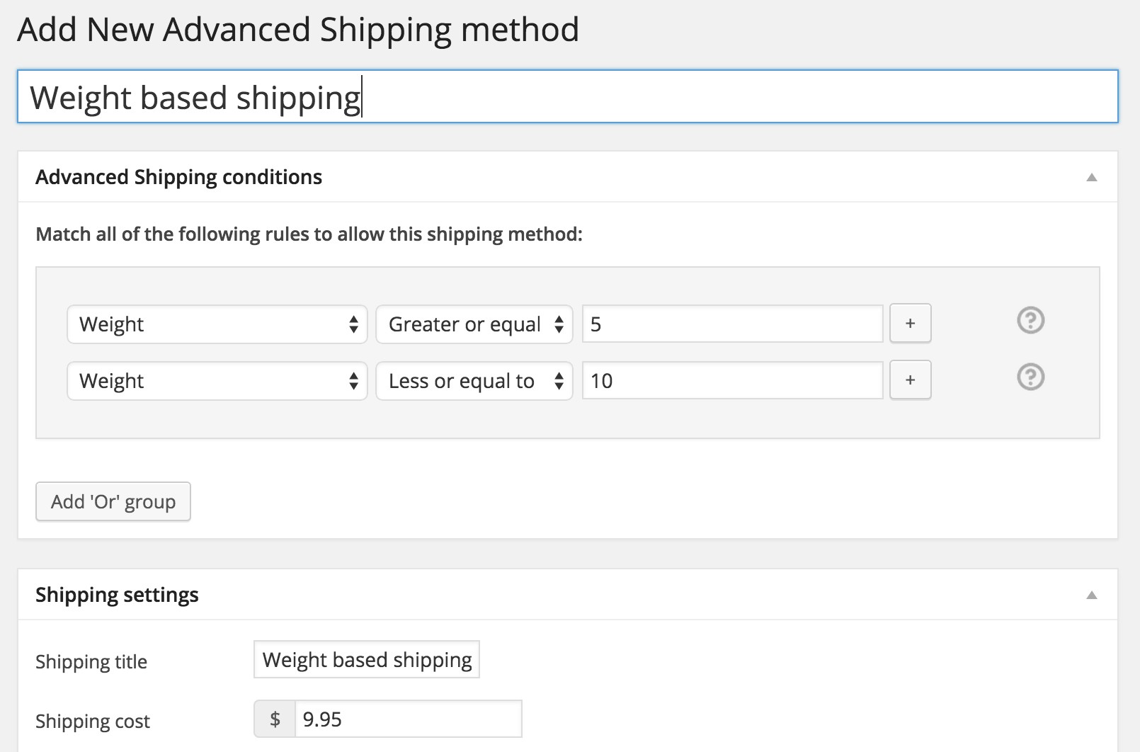 WooCommerce Advanced Shipping weight based example