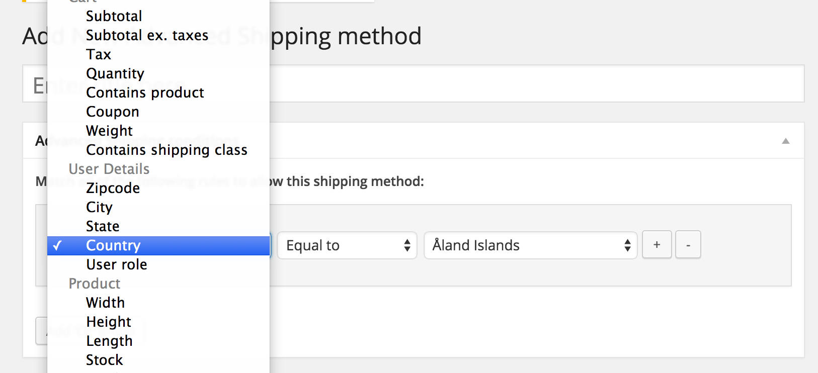 WooCommerce Country Based Shipping Condition