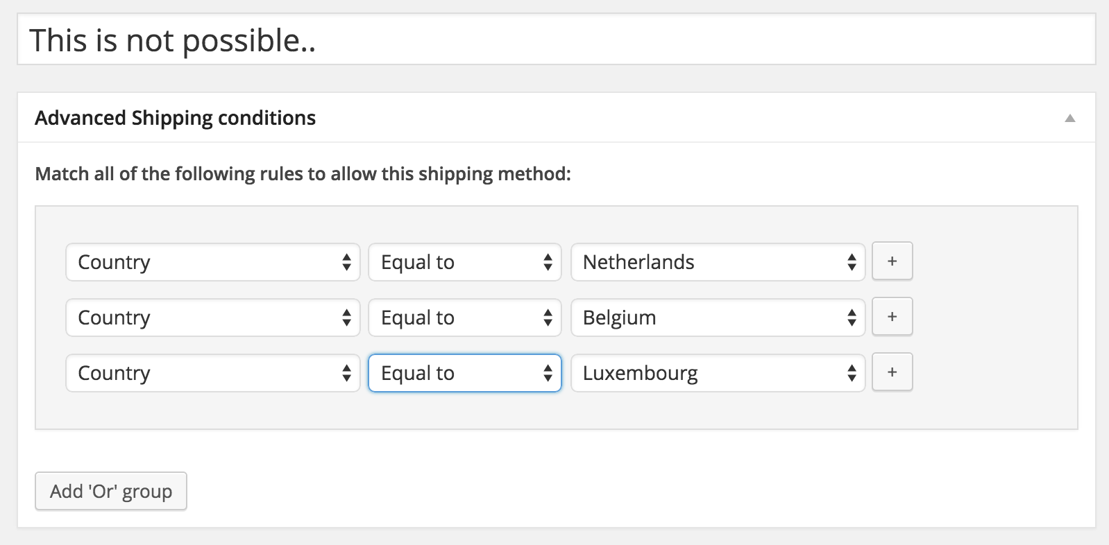 WooCommerce Advanced Shipping countries not possible