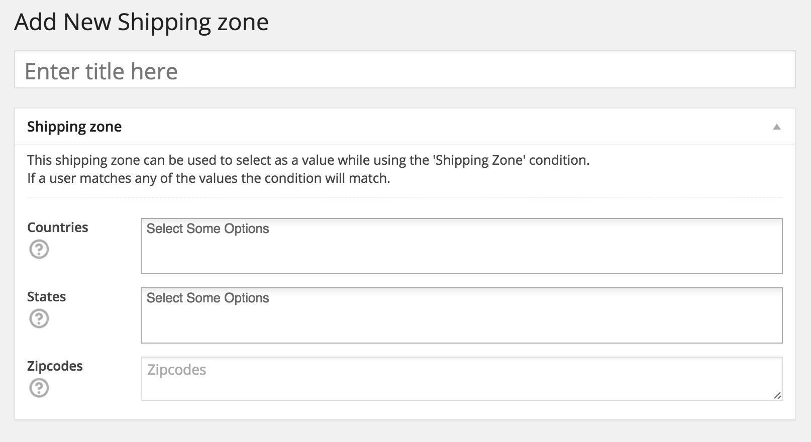 WooCommerce New Shipping Zone
