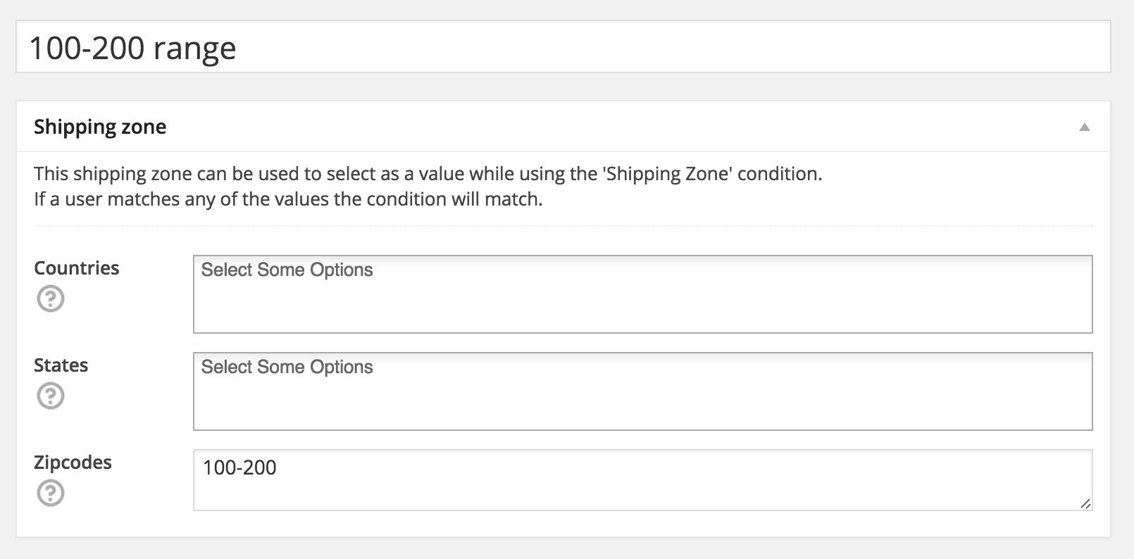 WooCommerce Shipping Zone example