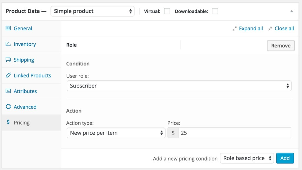 Single Product User Role Pricing