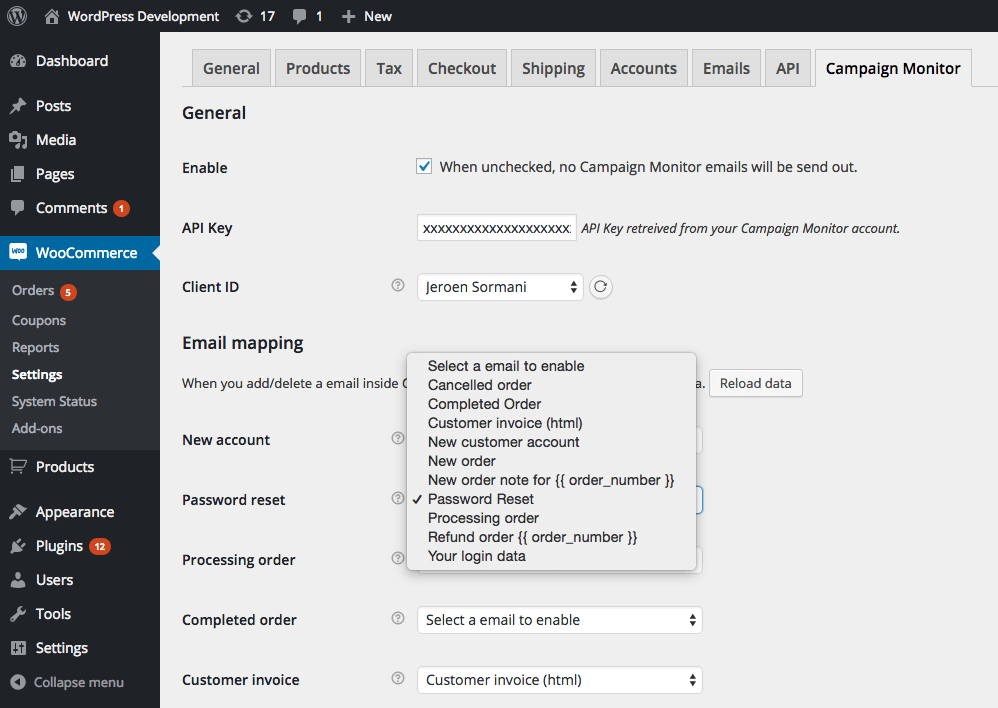WooCommerce Campaign Monitor Email mapping settings