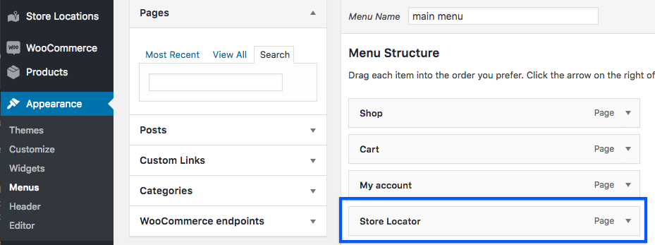 Add a link to the store locator to your site menu