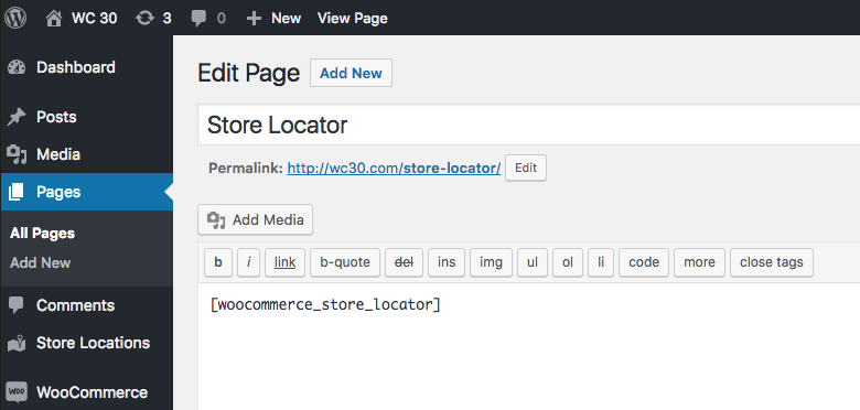 The store locator search page just needs the shortcode woocommerce_store_locator