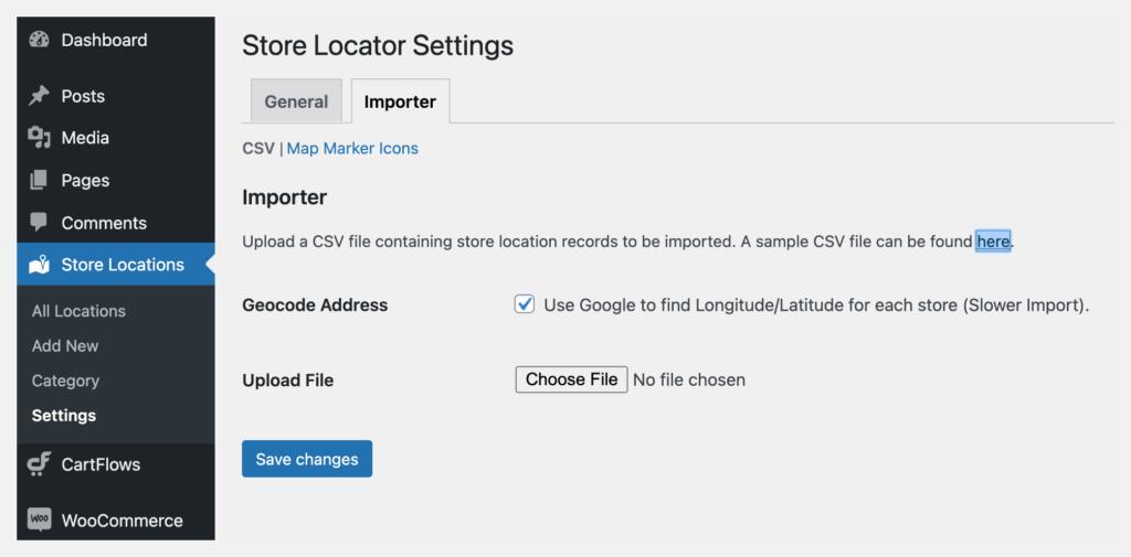 store locator csv settings