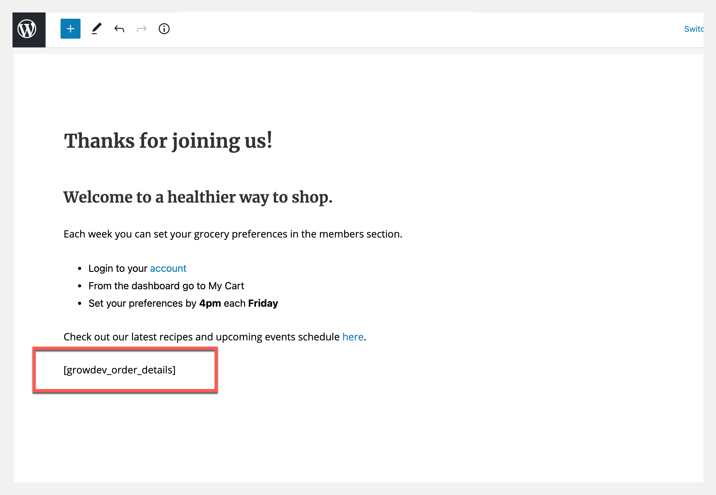 membership redirect with short code