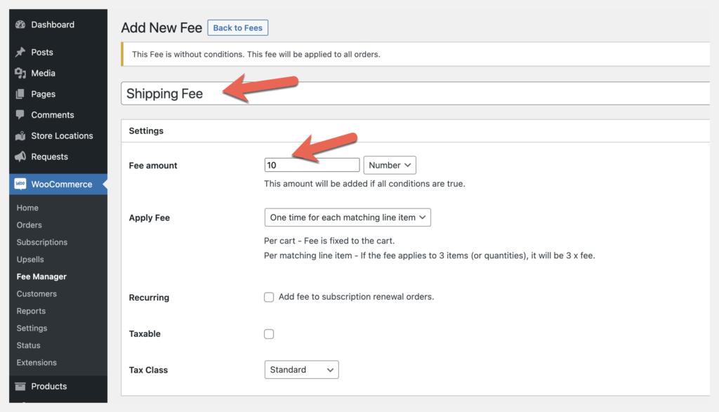 fee manager fee amount setting