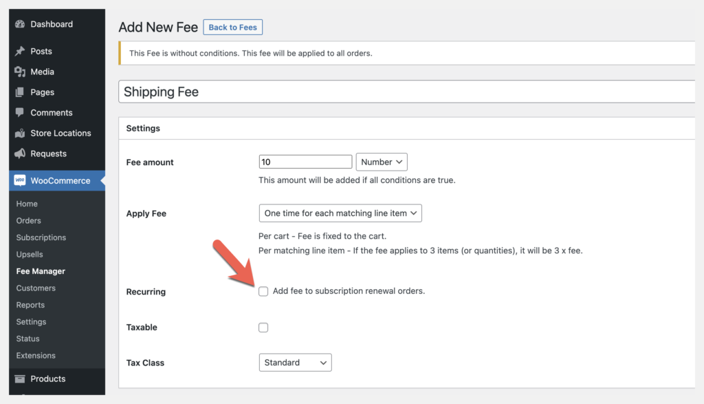 fee manager recurring