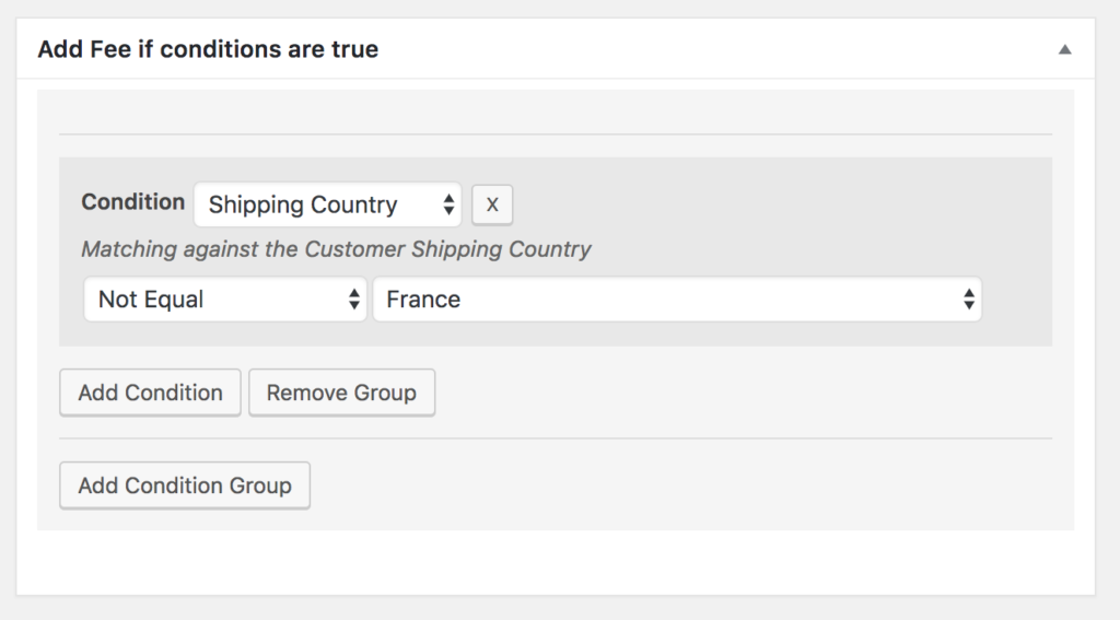 Create fees based on the shipping country