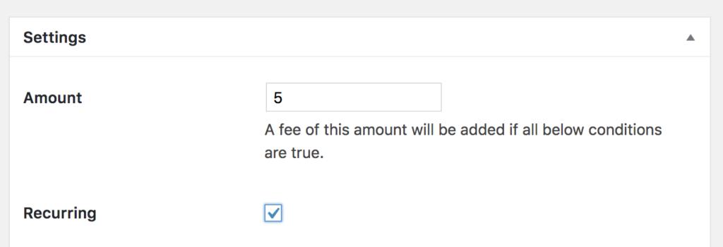 Create Recurring fees