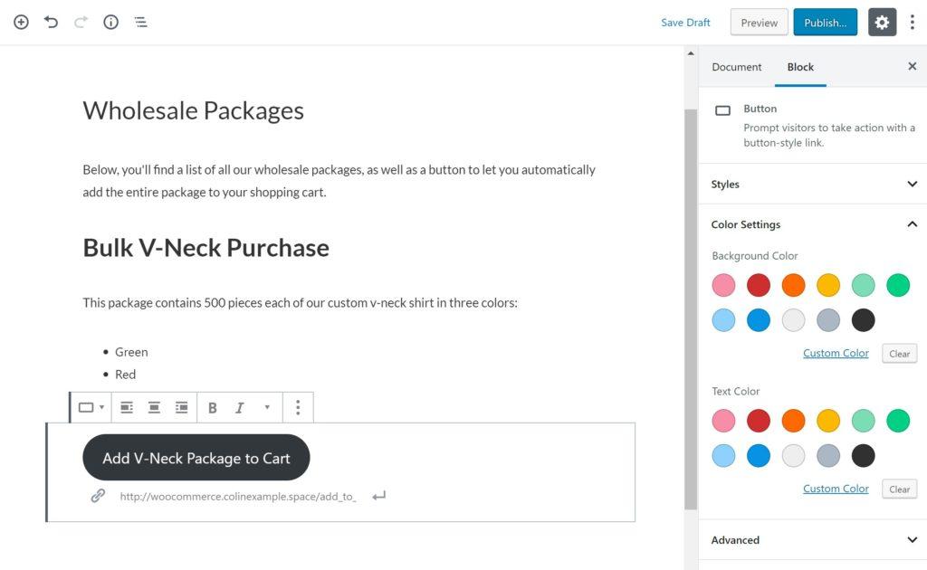 Cart URL added in WordPress editor