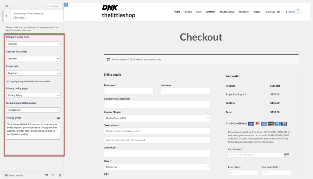 edit checkout page fields