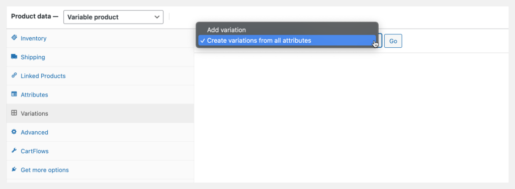 product data create variations from attributes