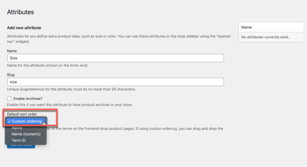 global product attributes settings page custom ordering