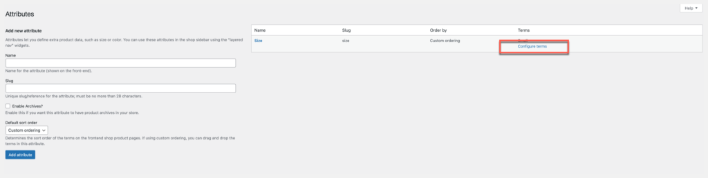 global attributes woocommerce, settings page configure terms