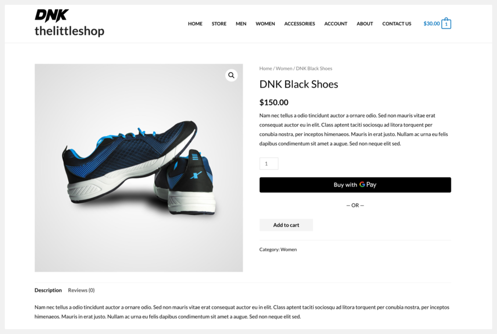 woocommerce shop product page with shoes