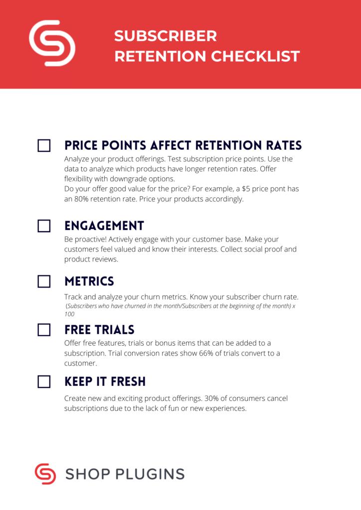 Subscriber Retention Checklist