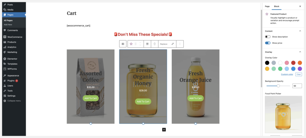 display featured products on cart page