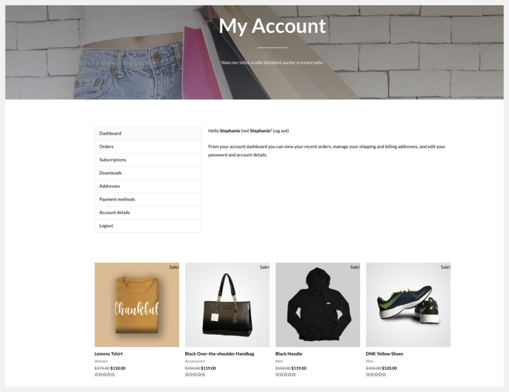 featured products on my account page