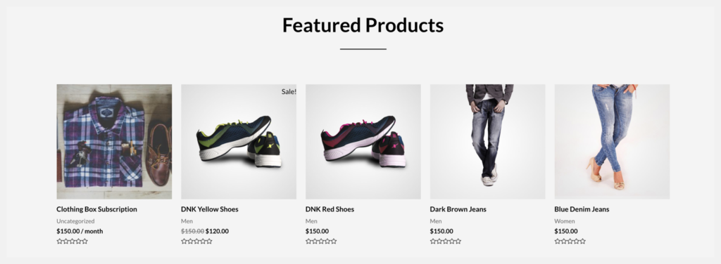 featured products on home page