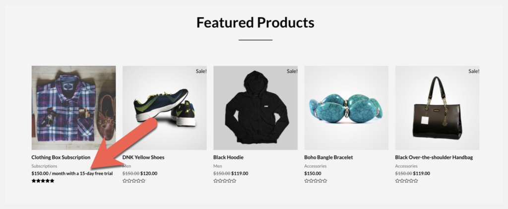 show subscription as featured product