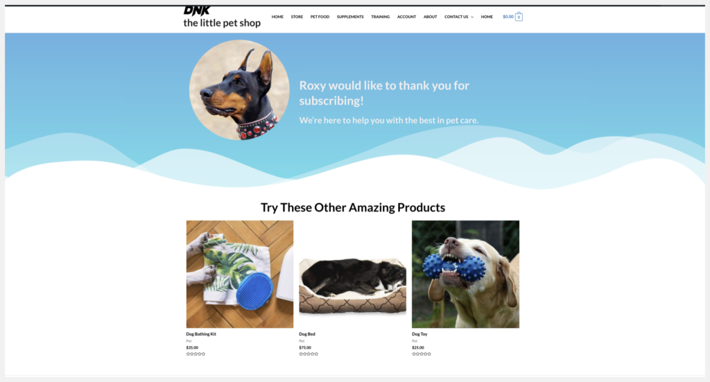 featured products on thank you page