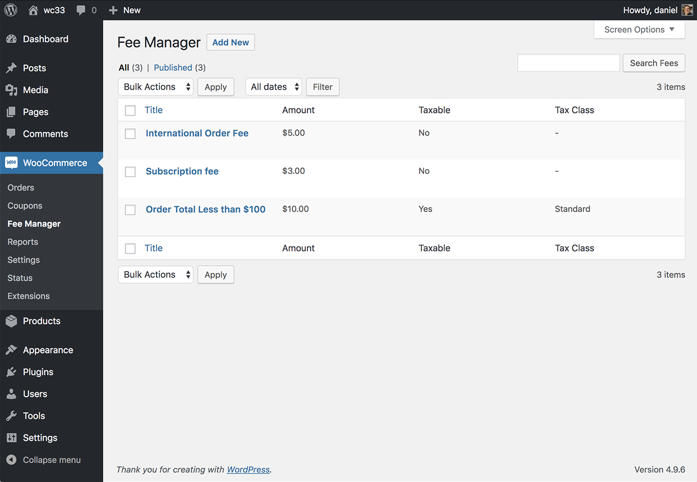 WooCommerce Fee Manager - All Fees