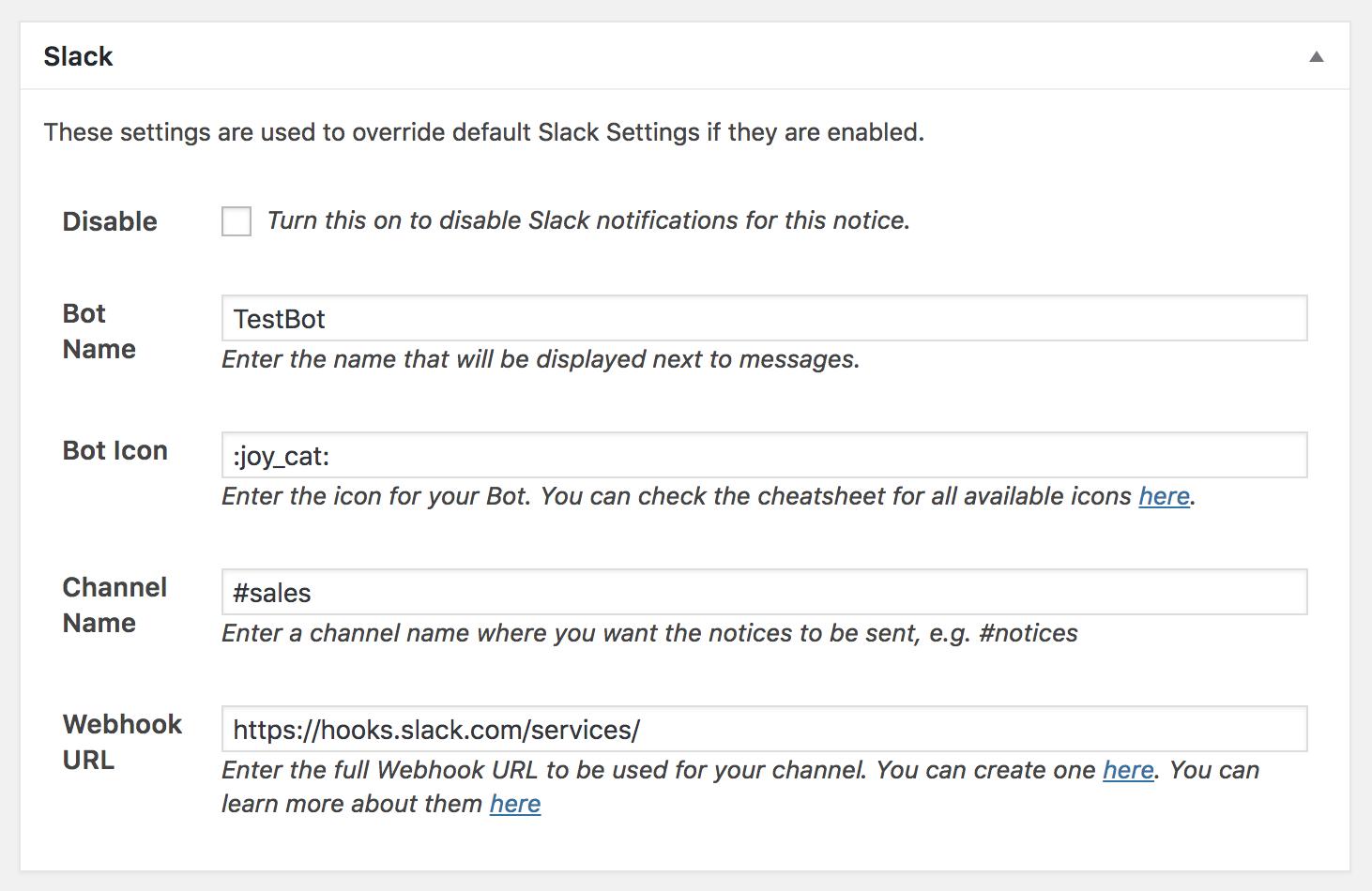 Notices Slack Settings