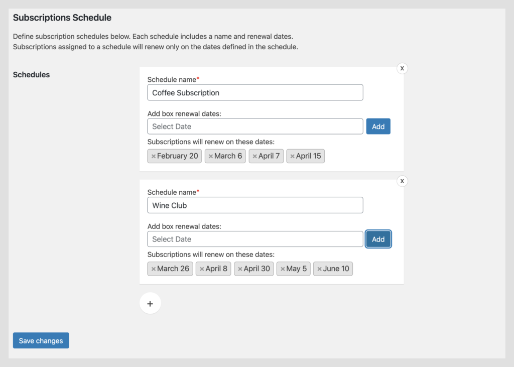 Custom woocommerce renewal schedules