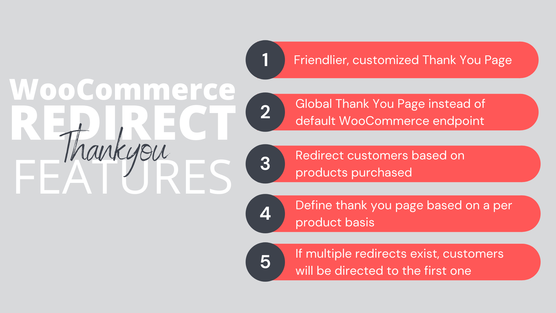 Redirect Thankyou Features