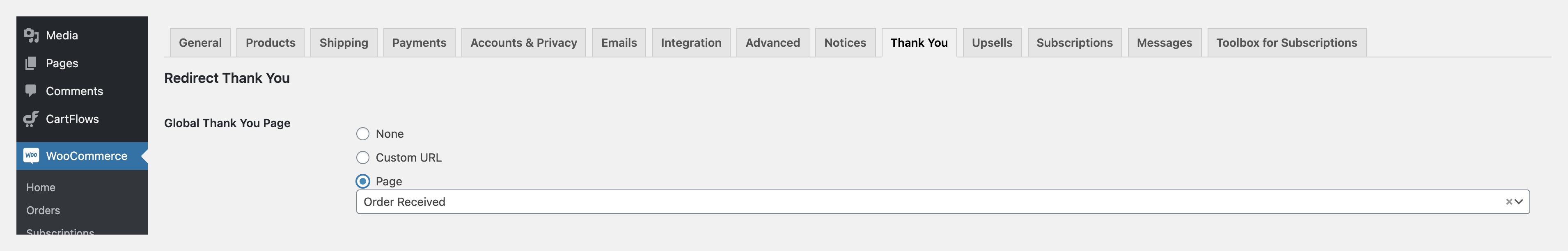 Redirect Global thankyou page settings